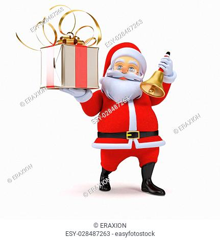 3d rendered illustration of a santa claus with a present