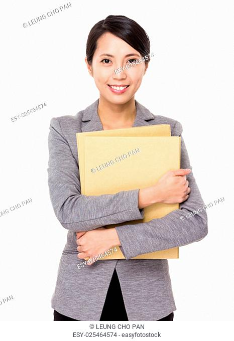 Asian businesswoman hold with lots of folder