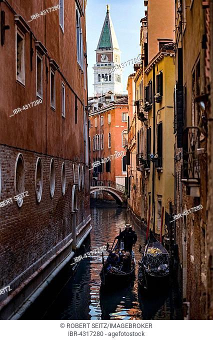 Narrow canal with gondolas and houses, Venice, Veneto, Italy