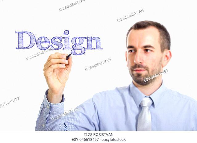 Design Young businessman writing blue text on transparent surface - horizontal image