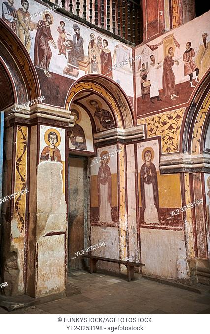 Byzantine fresco panels in the Gelati Georgian Orthodox Church of the Virgin, depicting scenes from the Passion of Christ
