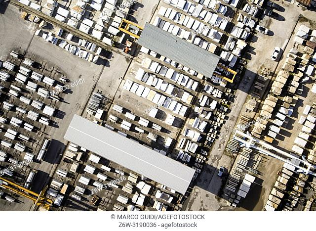 Aerial view of an area used as a marble warehouse awaiting processing