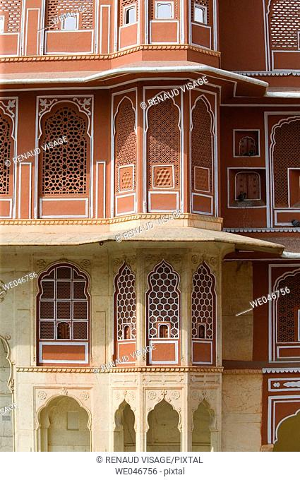 Detail of pink sandstone architecture of the City Palace. Jaipur. Rajasthan. India