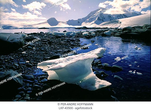 View at ice floe and snow covered mountains, Port Lockroy, Antarctic peninsula, Antarctica