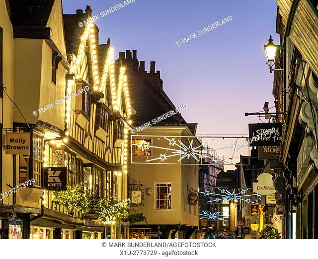 Stonegate at Christmas York Yorkshire England