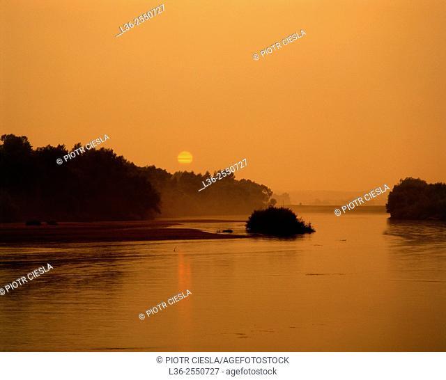 Sunset on river Bug, Podlasie region, Poland