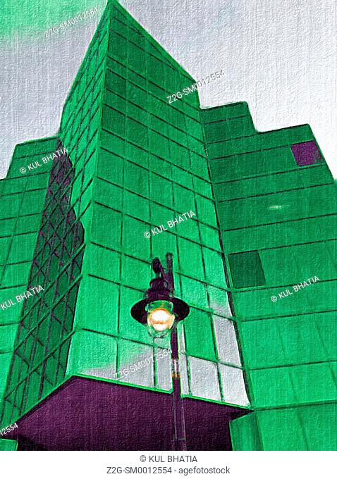 Green, modernistic building, Halifax, Nova Scotia