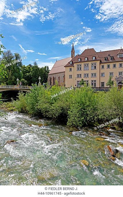 Europe, Italy, South Tirol, South Tyrol, Trentino, Alto Adige, Merano, Meran, Passeggiata Lungo Passer, river, flow, Passer, bridge, holy ghost church