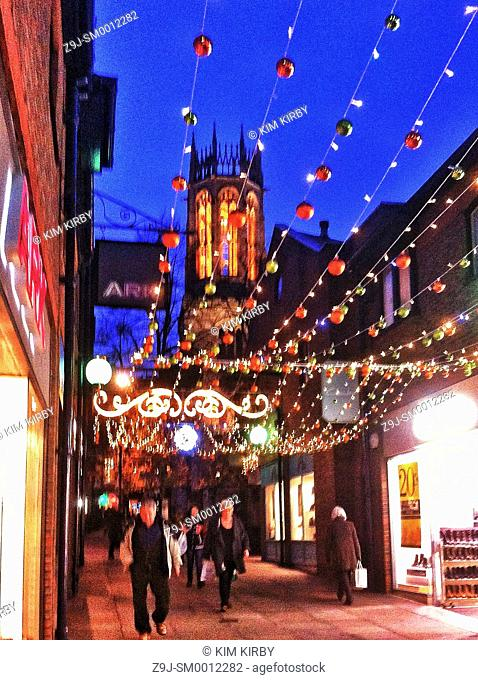 Christmas lights Coppergate Shopping Centre York North Yorkshire England UK United Kingdom GB Great Britain