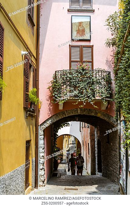Street with arches in the center of Varenna, Province of Lecco, Lombardy, Italy, Europe