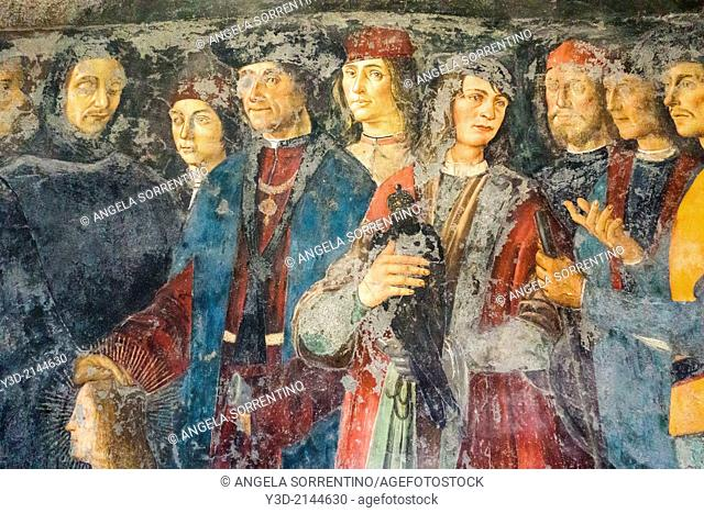 Fresco of the Renaissance, historical archive of Naples, Italy