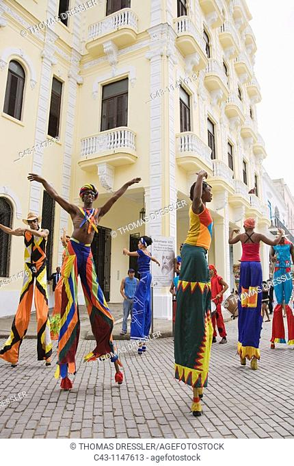 Cuba - Street performers on stilts in Habana Vieja, the Old Town of Cuba's capital Havana