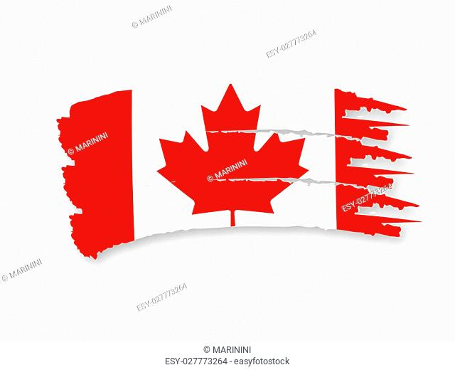 Illustration of Isolated hand drawn Canadian flag