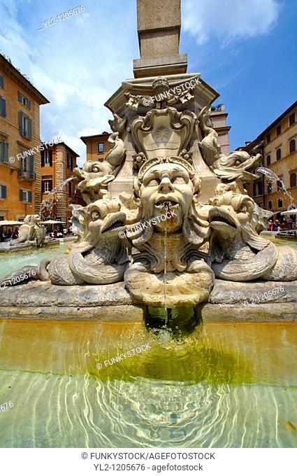Baroque fountain outside the Pantheon  Piazza Minerva, Rome