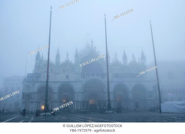 St. Mark's Basilica and Square covered with thick fog. Venice, Italy