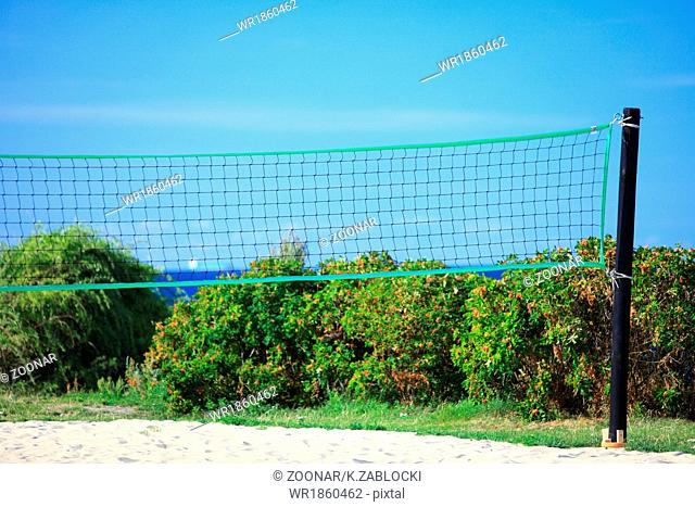 volleyball green net and playing court outdoor