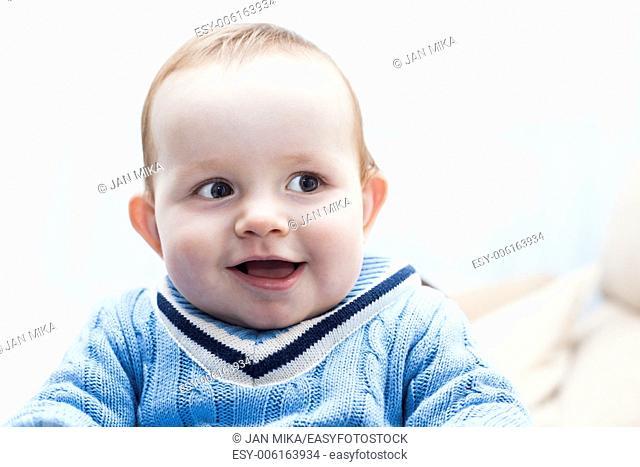 Closeup of cute happy baby boy