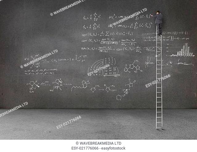 Businessman standing on a giant ladder and writing maths equations