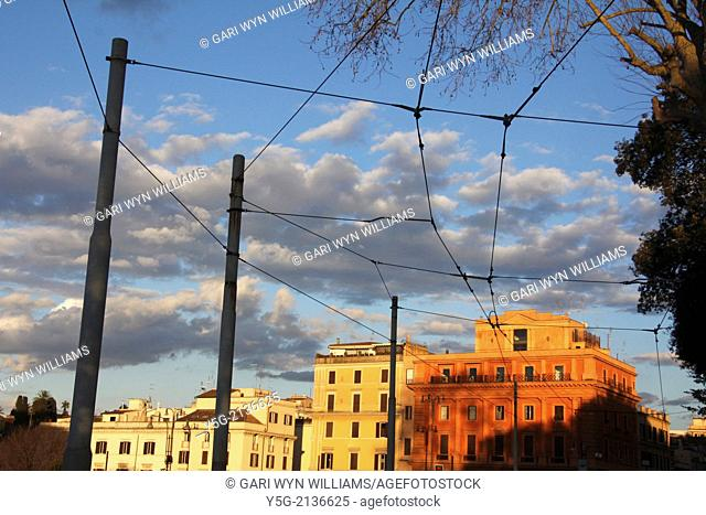 overhead tram power lines and buildings in rome italy