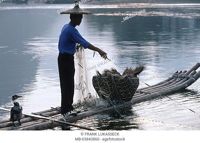 China, Guangxi, Yangshuo, Li Jiang, catches up Kormoranfischer, net, Asia, Eastern Asia, Li river waters man fishers straw hat, bamboo-boat, boat, bird