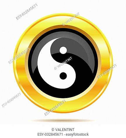 Ying yang icon. Internet button on white background