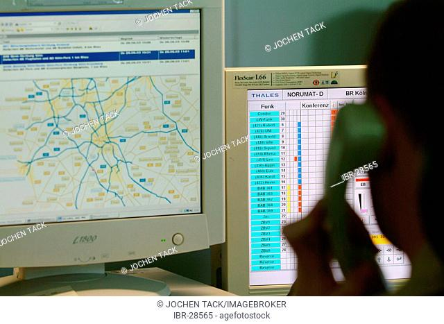 DEU, Germany, NRW: Police control center of the Highwaypolice, Highway patrol