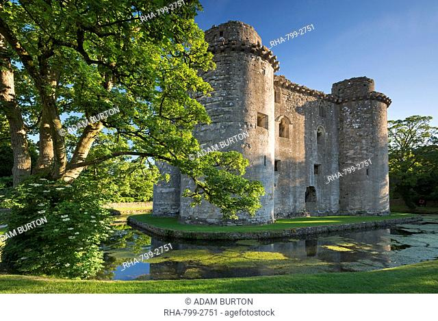 Nunney Castle and moat in summer in the village of Nunney, Somerset, England, United Kingdom, Europe