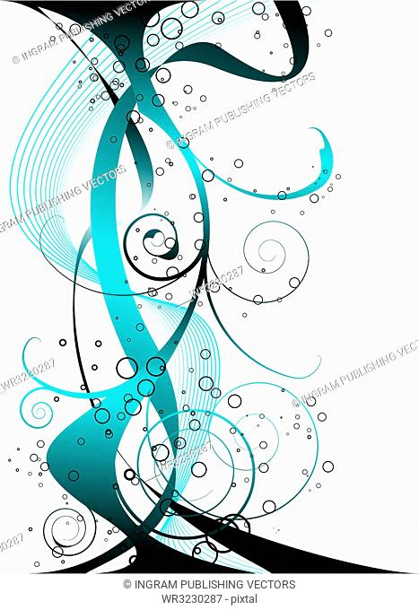 abstract blue and black background design with a floral theme