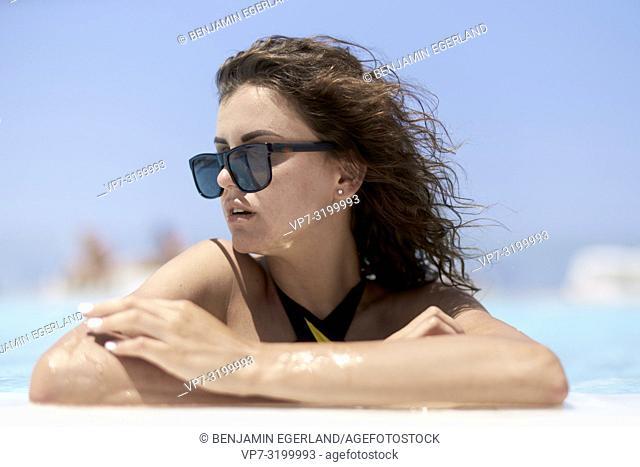 woman at pool, summer