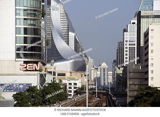 Thailand, Bangkok. Khwaeng Lumphini, Khet Pathum Wan, Metropolitan, Aerial subway