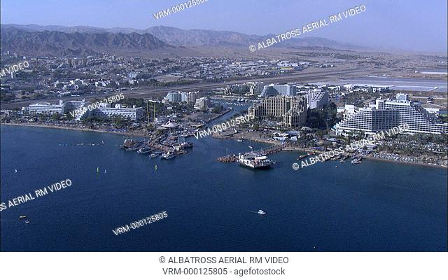 Aerial HD shot of the city of Eilat in Southern Israel