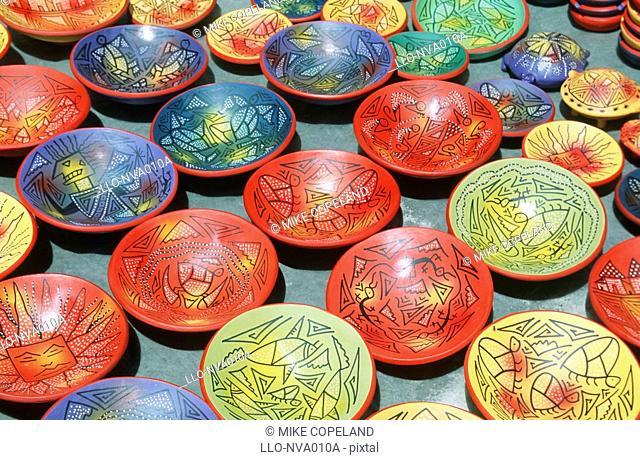 Display of Colourful Ceramics in Market  Otavalo Market, Otavalo, Ecuador