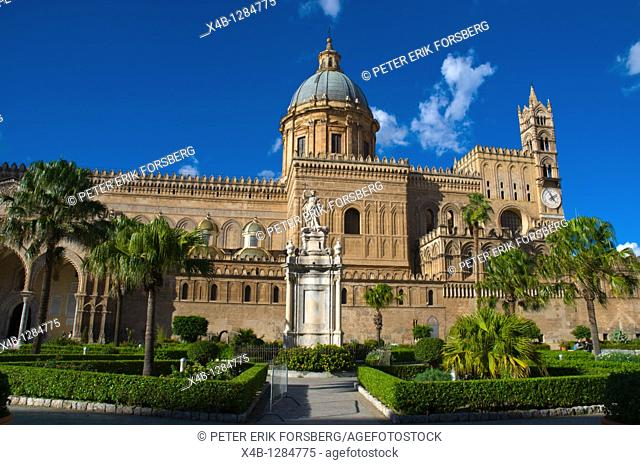 Palazzo Reale dei Normanni palace at Piazza Indipendenca square Palermo Sicily Italy Europe