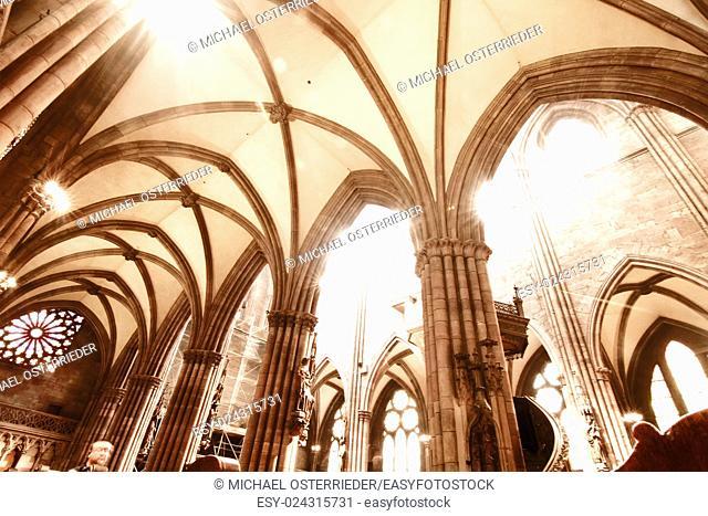 Interior of the Freiburg Muenster in Freiburg im Breisgau, Germany, Europe