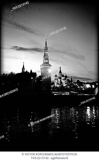 Kremlin and St. Basil's Cathedral at night seen across Moskva River, Moscow