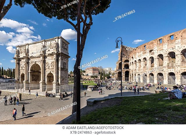 Rome. Italy. Arch of Constantine & the Colosseum, Piazza del Colosseo