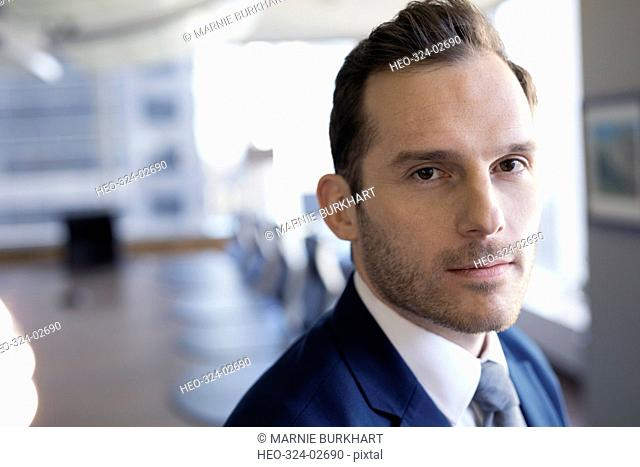 Close up portrait confident businessman