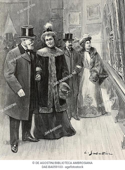 President of the Republic Emile Loubet and Duchess of Uzes at women's painting and sculpture Salon, Paris, France, illustration from L'Illustration, No 3077