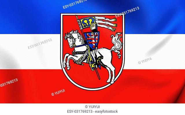 3D Flag of Marburg City, Germany. Close Up