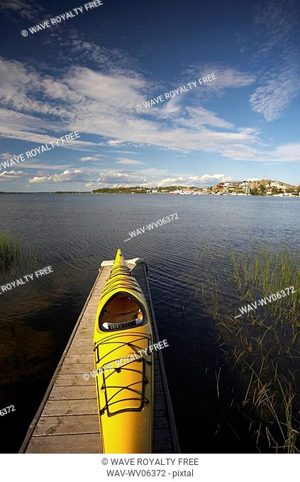 View of a popular kayaking paddle - across the Back Bay portion of the Great Slave Lake in Yellowknife, Northwest Territories