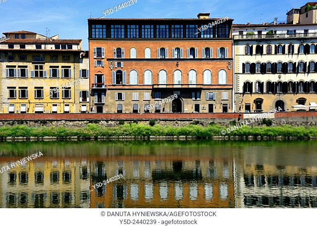 facades of buildings along Arno river, Florence, Tuscany, Italy