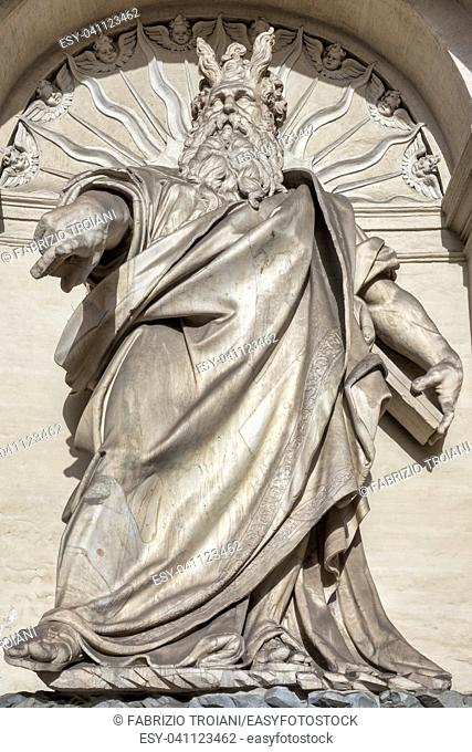 Details of the monumental Fontana dellâ. . Acqua Felice (or Fountain of Moses), Rome Italy