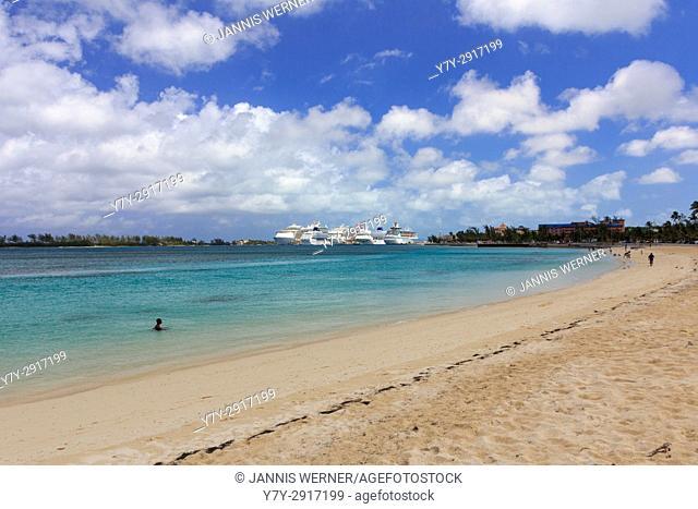 Cruise ships docked at the port of Nassau, Bahamas