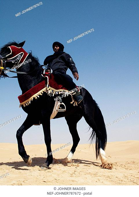 Bedouin on a black horse against a blue sky, Tunisia