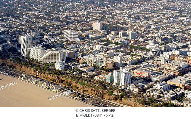 Aerial view of beach and Los Angeles cityscape, California, United States