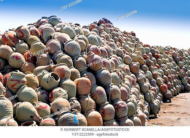 Africa, North Africa, Maghreb. Governorat of Medenine. Djerba island. Houmt Souk. Fishing port. Jars for fishing squid