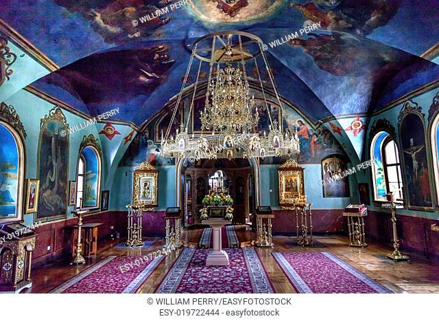 Ancient Mosaics Icons Chandelier Rectory Saint Michael Vydubytsky Monastery Kiev Ukraine. Saint Michael's is the oldest functioning Orthordox Monasatery in Kiev