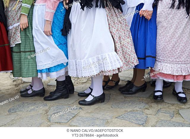 Traditional costumes and folk traditions at Easter Festival in Hollók?, UNESCO World Heritage-listed village in the Cserhát Hills of the Northern Uplands