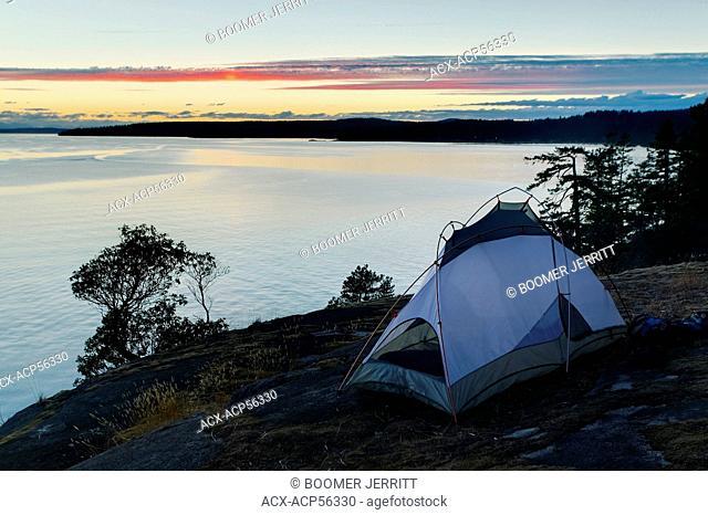 Evening sets over Stillwater Bluffs and Georgia Strait, Powell River, The Sunshine Coast, British Columbia, Canada