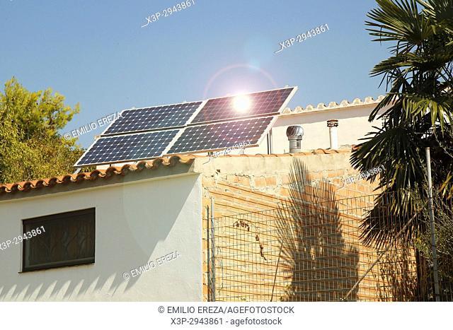 Solar panels on roof. Rural house